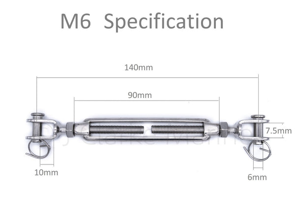 316 A4 marine grade stainless steel turnbuckle rigging screws M5 M6 M8 5mm 6mm 8mm