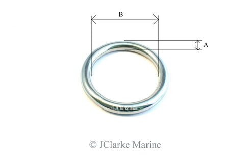 Marine Grade Stainless steel O Rings 316 A4 welded polished dog collar webbing