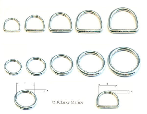 Marine grade stainless steel Dee and O Rings, perfect for dog collars, leads, webbing straps, horse bridles