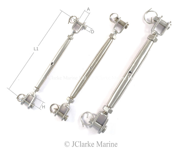 Turnbuckle rigging screw jaw to jaw closed body