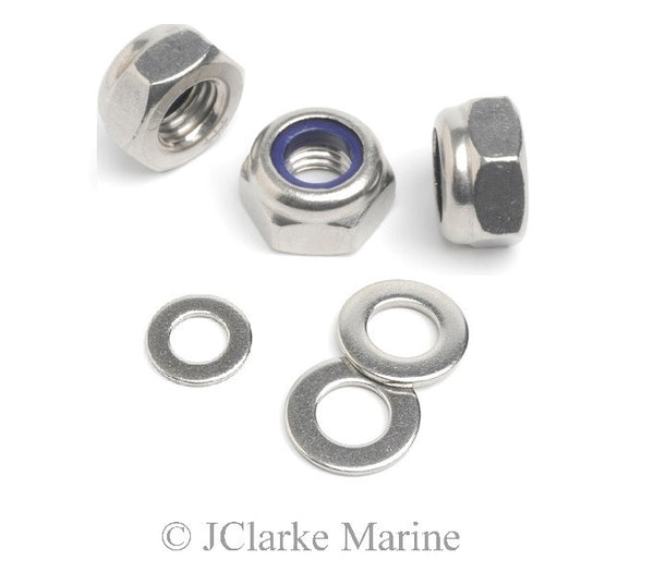 Lock nut with nylon insert and washers