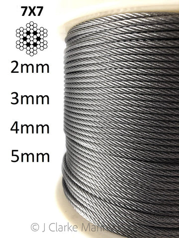 aisi 316 a4 stainless steel wire rope rigging balustrade cable 7x7
