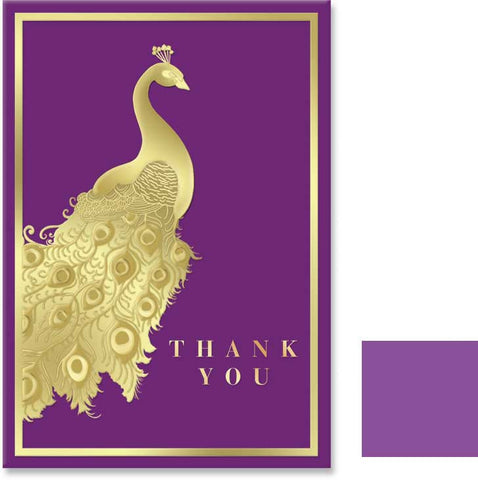 Purple Peacock Thank you Cards