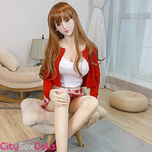 Asian Silicone Head & TPE Body Sex Doll in sexy red dress