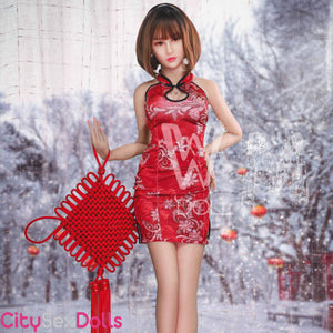 Hot Chinese Sexdoll in red dress