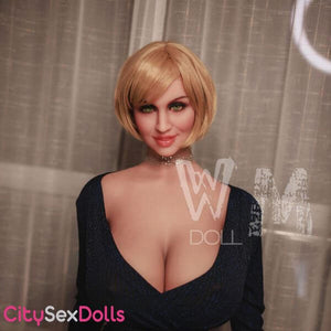 "173cm (5ft 8"") H-Cup Naked Blonde Sex Doll with Smily Face - Ginger"