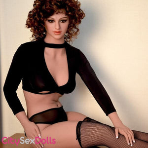 Sex Doll with Curly Hair in black dress