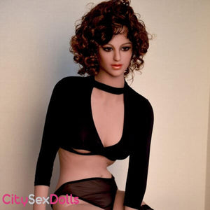 Sex Doll with Curly Hair in black lingerie