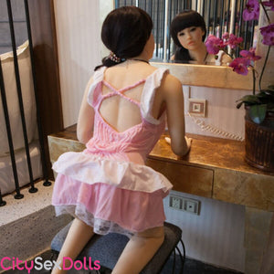 Squishy Boobs and Curvy Body Asian Sex Doll showing her sexy back