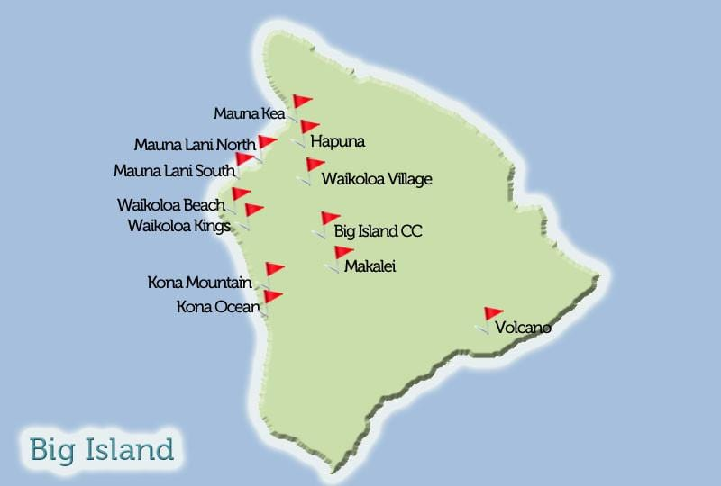 Big Island Golf Courses Map View Hawaii Tee Times