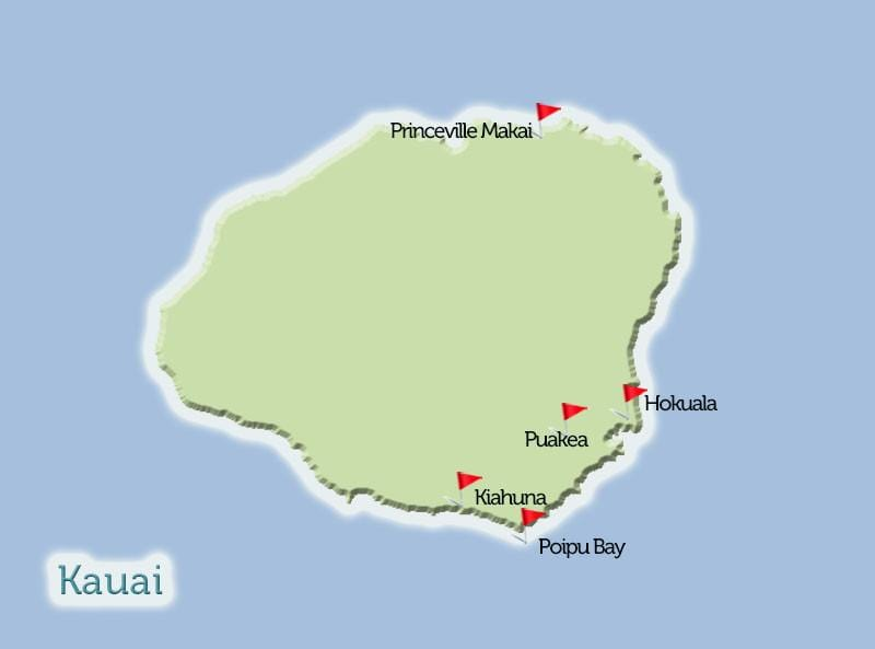 Kauai Golf Courses Map View