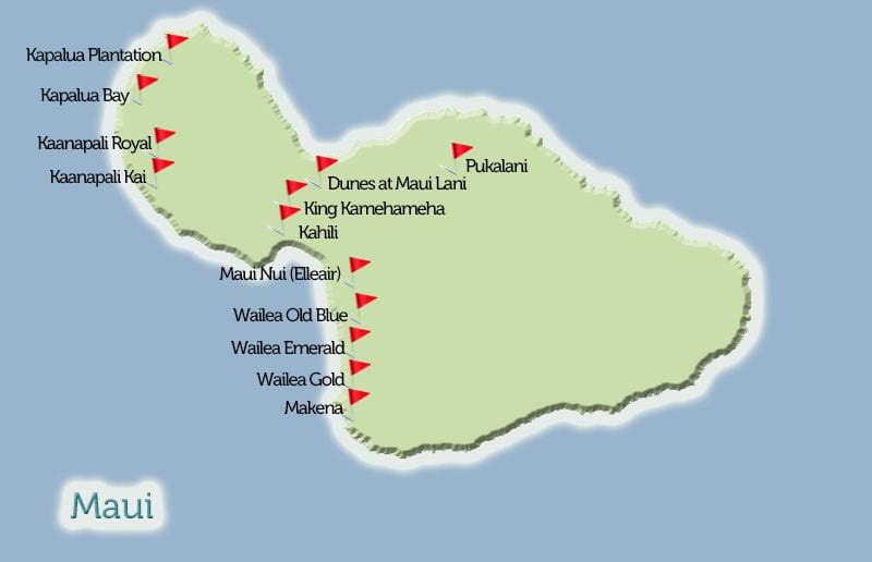 Maui Golf Courses Map View