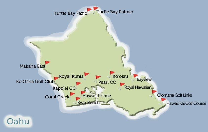 Oahu Golf Courses Map View Hawaii Tee Times
