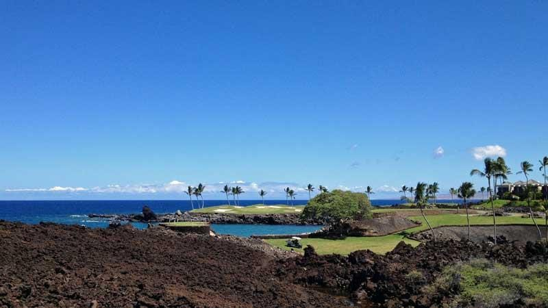 Mauna Lani views from 13 green towards 15th hole