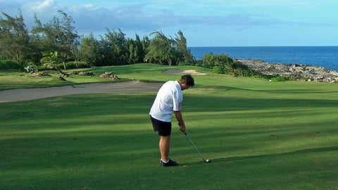 Approach shot to the beautiful par 4 4th hole at Kapalua Bay