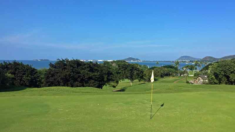 A perfect day playing golf at Bay View on the 13th green