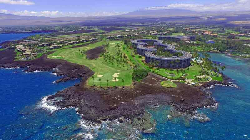 Waikoloa Beach aerial veiw from Ocean over hole 7
