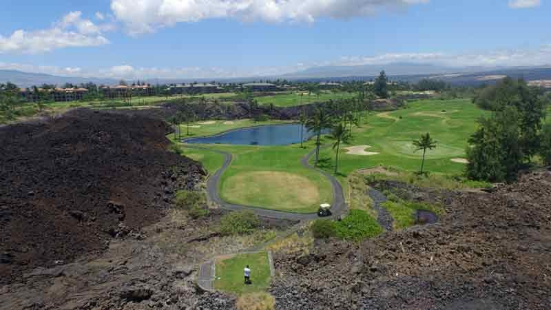Waikoloa Beach hole 17 from drone
