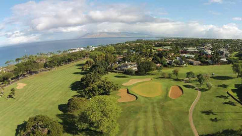 Aerial Views of Front Nine at Wailea Old Blue Golf Course Maui