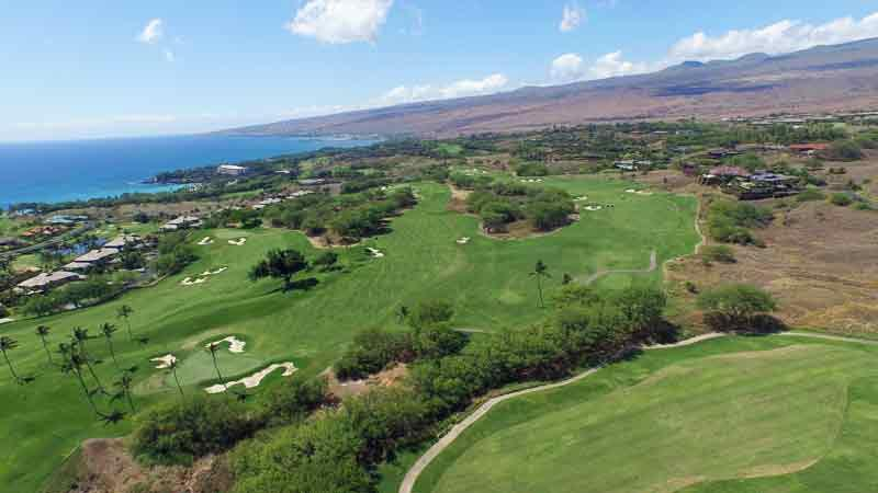 Mauna Kea view of backnine holes from Hawaii Tee Times
