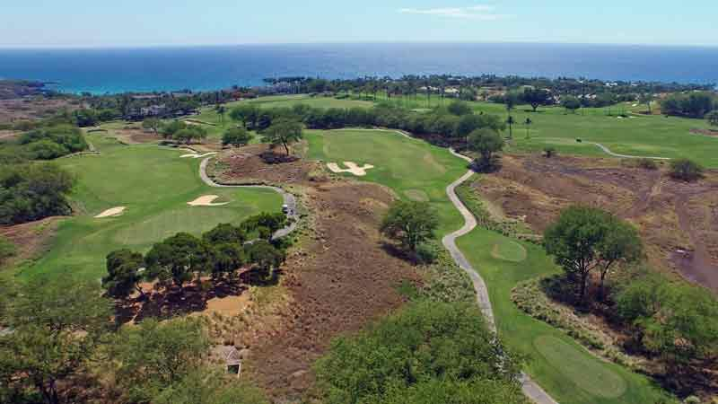 Hapuna Holes 1 and 18 from Hawaii Tee Times Drone