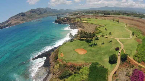 Kauai Lagoons view of 14 and 15th hole with drone from HTT