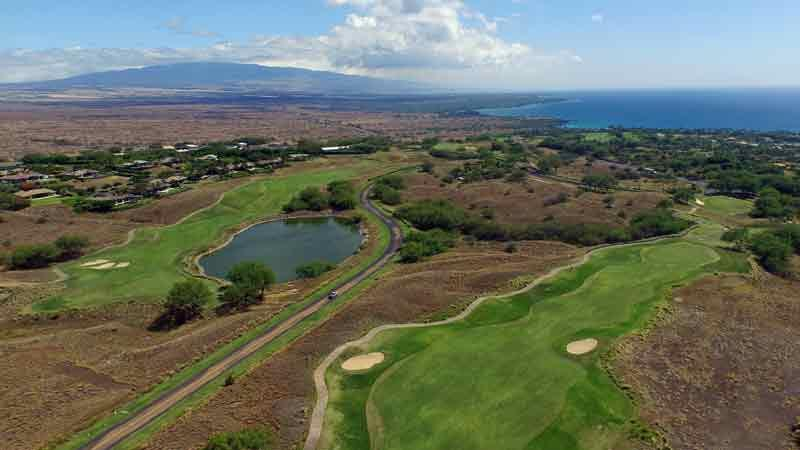 Hapuna front nine holes going up the mountain