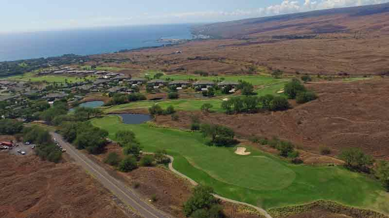 Hapuna Golf Course 9th hole and ocean views from Drone