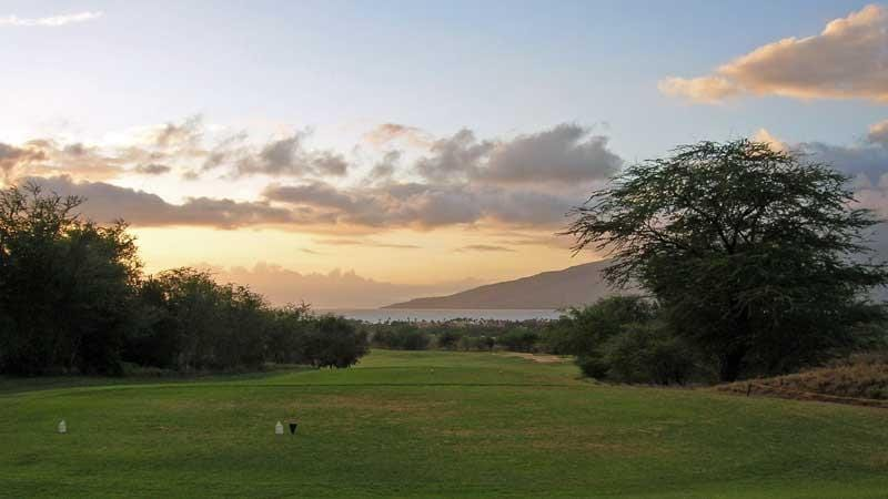 View of Ocean from Elleair Golf Course 18 tee at sunset