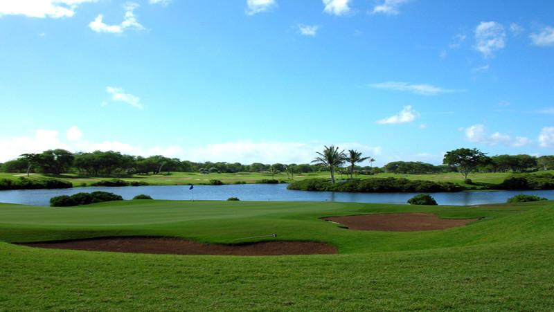 Ewa Beach Golf Club view of 13 and 10 green with lake