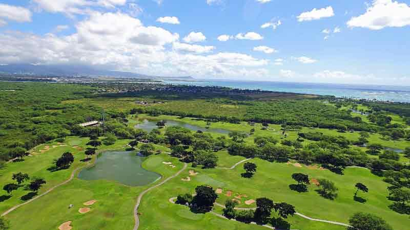 Beautiful aerial shot of Ewa Beach Golf Course