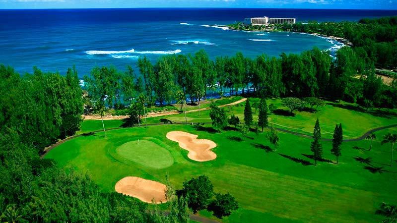 Turtle Bay Fazio aerial view of hole 6-7 and hotel