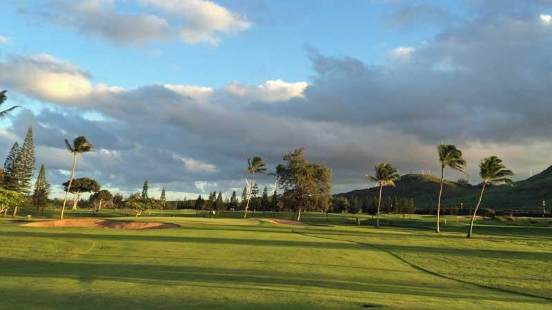 Turtle Bay Fazio 12th fairway at sunset