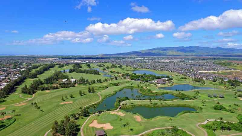 Beautiful view of Hawaii Prince Golf Course from HTT Drone