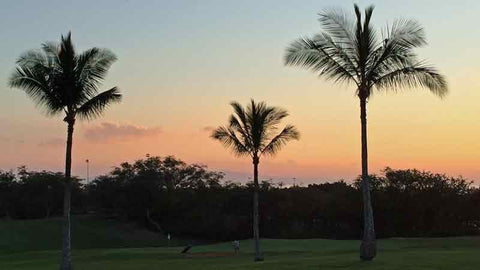 sunset over the 9th green Maui Nui Golf Course Maui