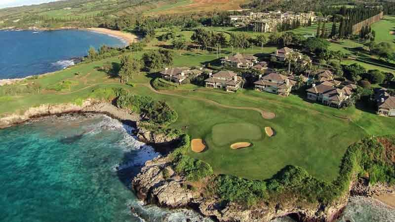 the beautiful 5th hole with Kapalua Plantation in the background