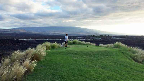Teeing off the 18th hole at Waikoloa Kings