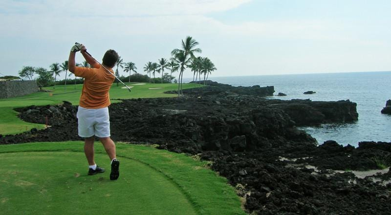 Kona Country Club Ocean teeing up on the ocean hole 3rd
