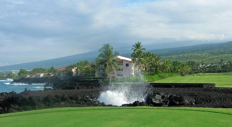 Kona Country Club 13th hole hitting over a blow hole