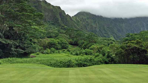 Koolau 13th green and view of mountains Hawaii Tee Times