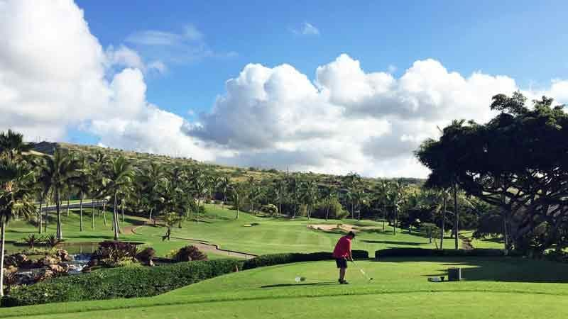 Koolina 12th hole beautiful par 3 with Hawaii Tee Times