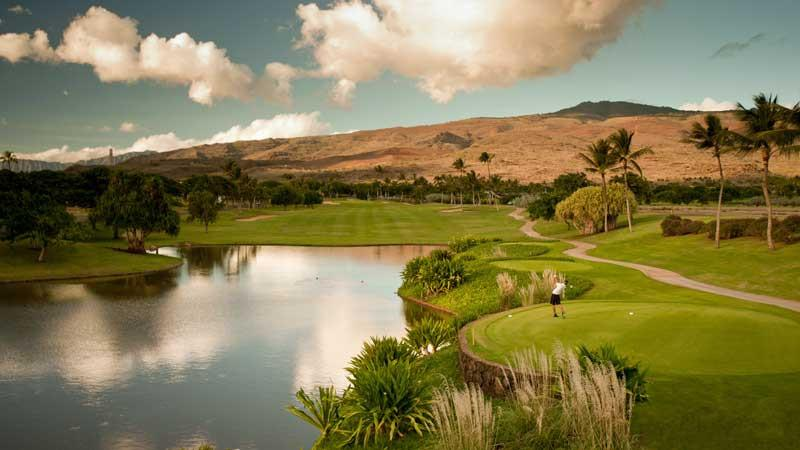 Ko Olina Teeing off on the 9th hole