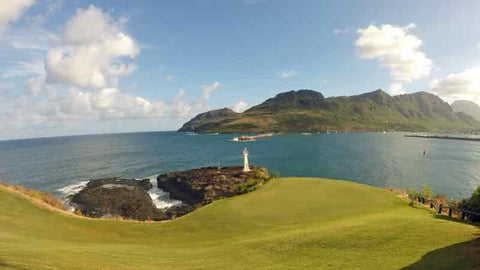The approach to the fun 16th hole at Kauai Lagoons