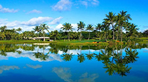 Kauai Lagoons tough 18th hole with island green
