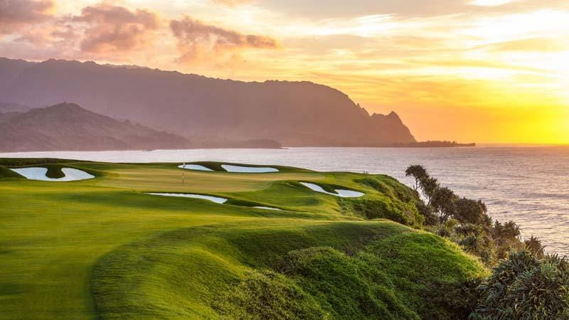 Princeville Makai 14th green at sunset