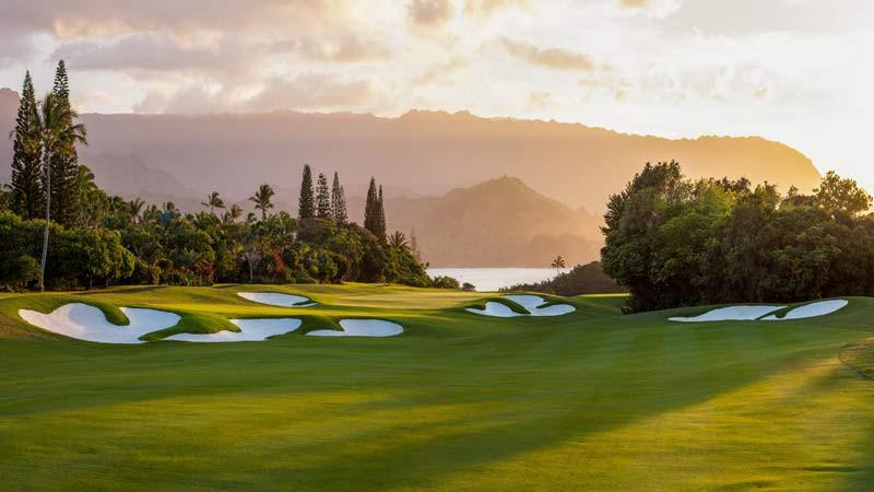 Princeville Makai 2nd green at sunset