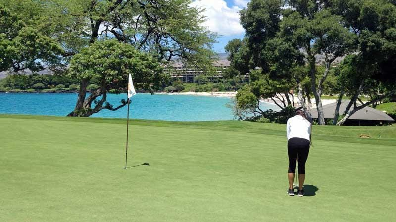 Playing golf at Mauna Kea in Hawaii