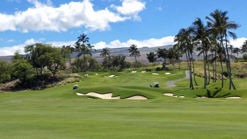 Looking up to the 1st green at Mauna Kea Golf Course