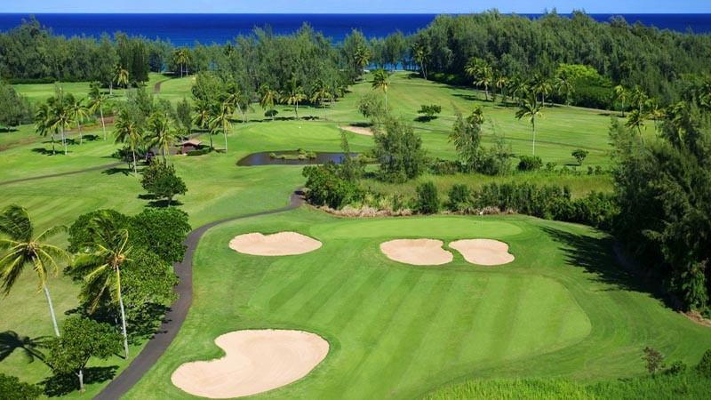 Turtle Bay Resort Fazio 14th hole with ocean views.