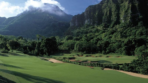 Ko'olau Golf Club incredible 18th hole with the mountains in back